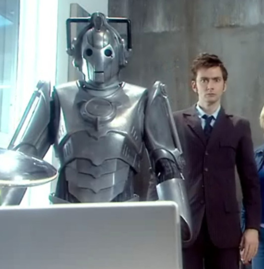 David Tennant with a new-look Cyberman.