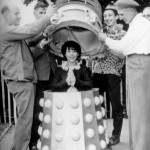 Carole Ann Ford in East Ham with Dalek Two.