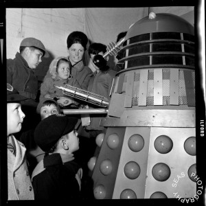 Dalek Five visits Broadstairs Methodist Hall in Kent in aid of Barnardo's in March 1066. Click for a larger view. Picture - Seas Photography