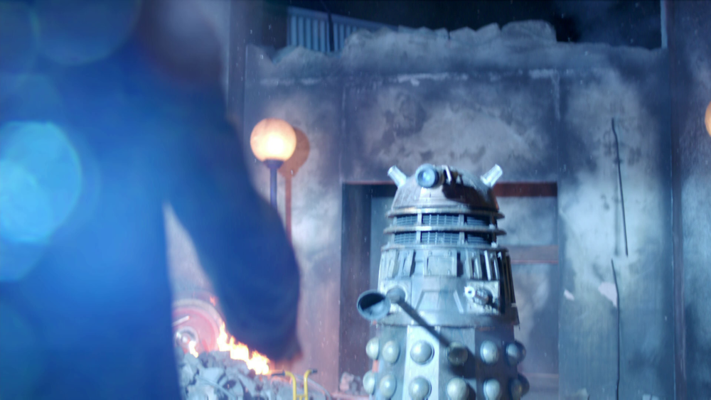 The 'TPE' prop confronts the three Doctors