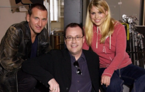 Russell T Davies (centre) with Christopher Eccleston and Billie Piper