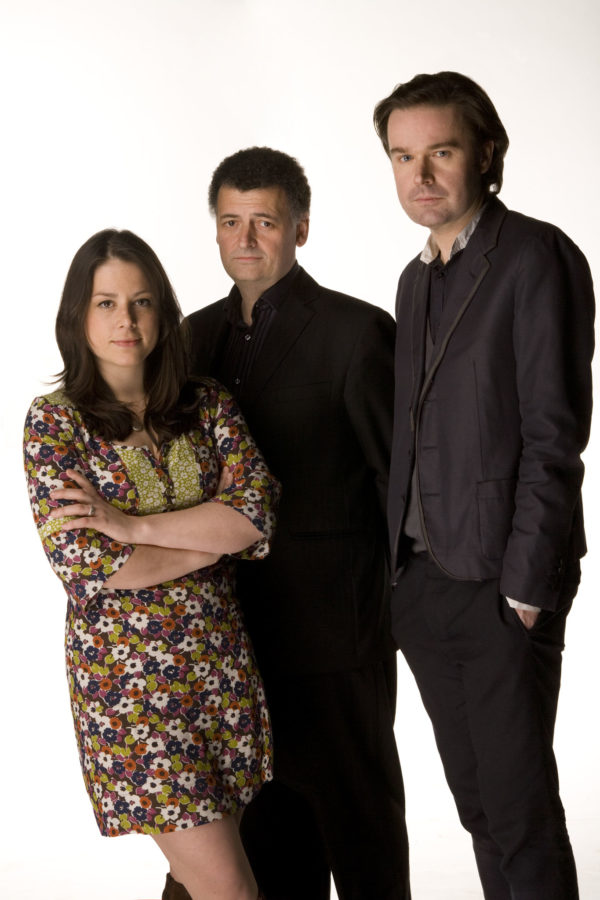 Steven Moffat (centre) with Beth Willis and Piers Wenger