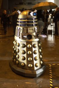 The finished Dalek ready for action at the Millennium Stadium.