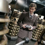 David Tennant plays with the radio controlled dome.
