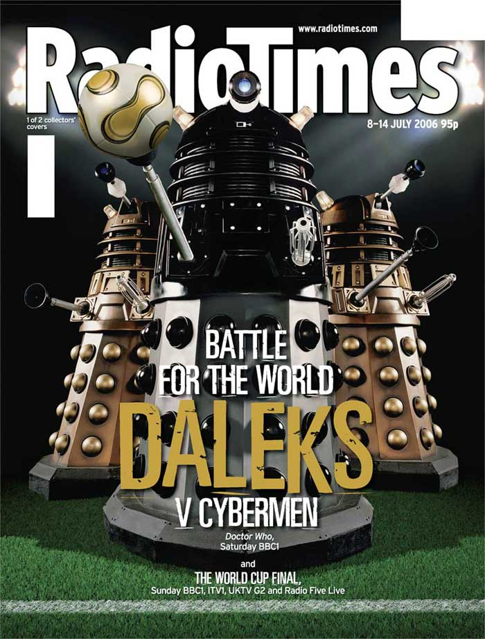 The Daleks play football.