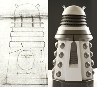 """Hinged Panel in Base"" says the original plans 2010 Dalek on right right with secret panel"