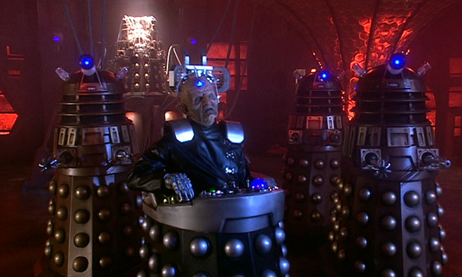 The Daleks in studio with their new attachments
