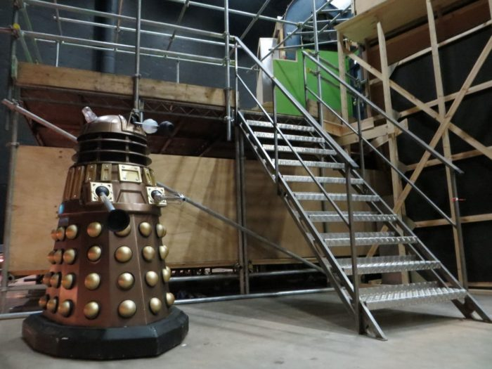 NSDA5 stands outside the Tardis set at Roath Lock. Picture - Alun Vega