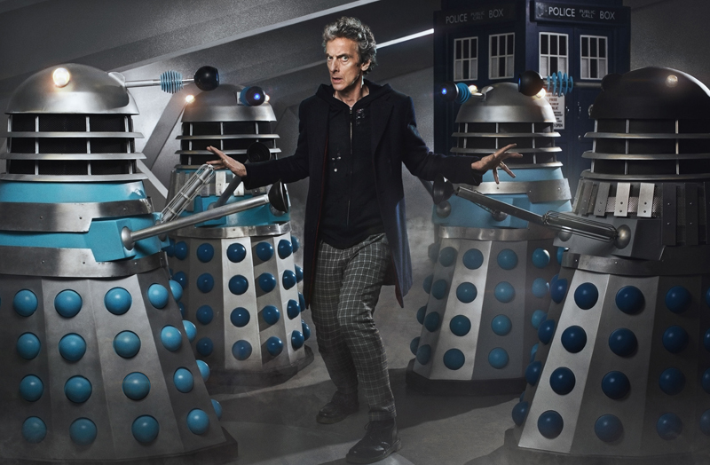 Daleks AB2 (left), AB1, AB3 and AB4 surround Peter Capaldi