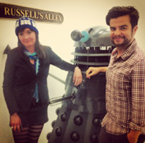 Producer, Caroline Skinner and Brand Manager, Edward Thomas with Russell T. Davies's Dalek