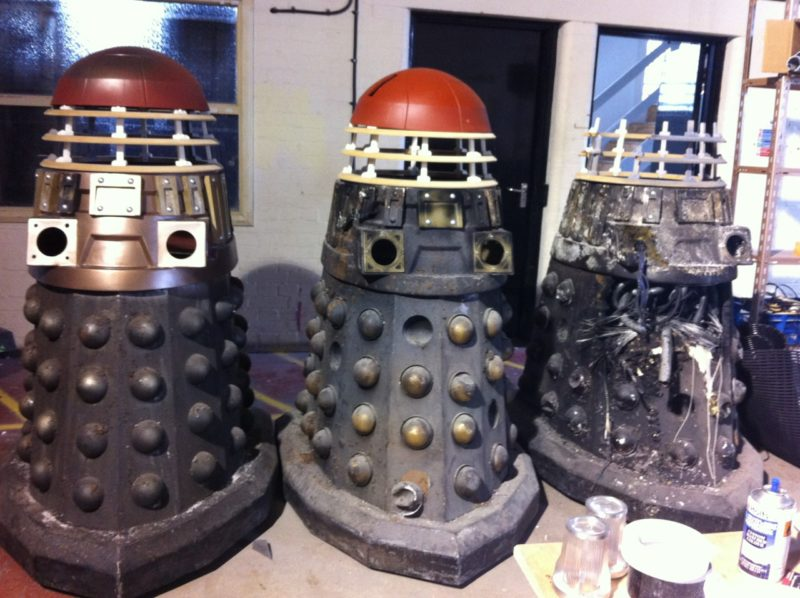 The damaged Daleks are assembled at The Model Unit