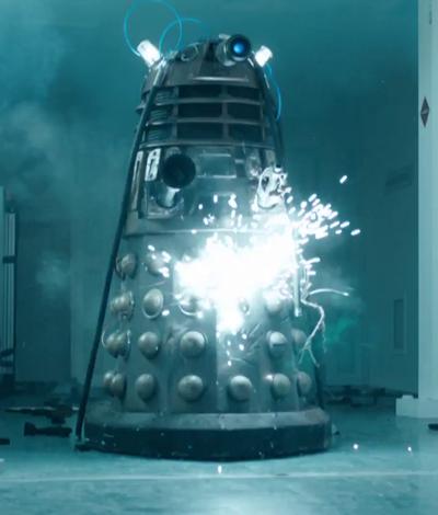 A paint ball gun fired gunpowder at the Dalek