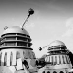 Dalek One's (left) extensive shoulder damage.
