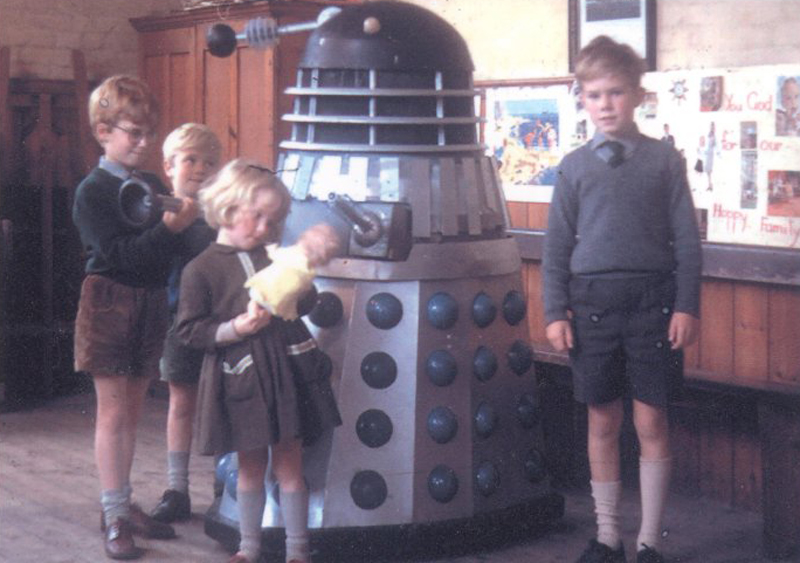Dalek Six-5 with David Speight and his brothers and sister. Picture - David Speight.
