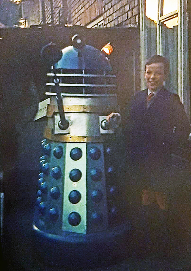 Robert Rankin's prize, AARU Seven. Robert is inside the Dalek operating the lights and his cousin is pictured with the Dalek. Picture - Robert Rankin.
