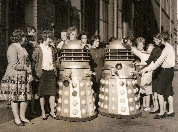 Dalek Four (left) and Dalek Two arrive at Barnardo's in Stepney Causeway. Picture - Jacqueline Beston.