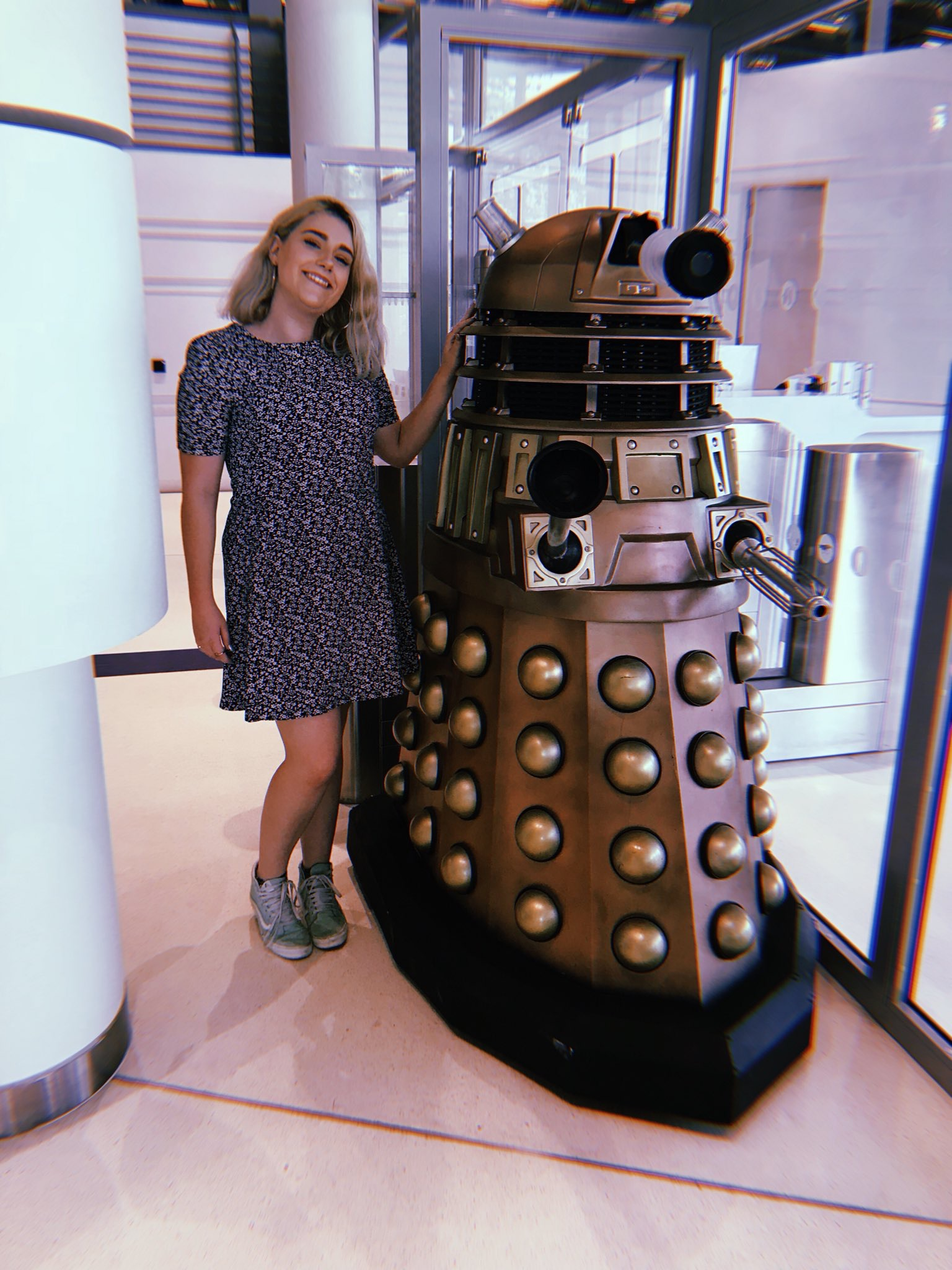 "Beth Axford of ""The Time Ladies"" with Dalek TPE BBC-B at Television Centre. TPE BBC-B had appeared in Series Nine. Picture - Beth Axford"