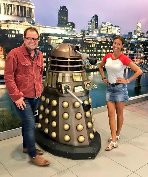 Alan Carr and Melanie Sykes with TPE EC1/SP at Broadcasting House.