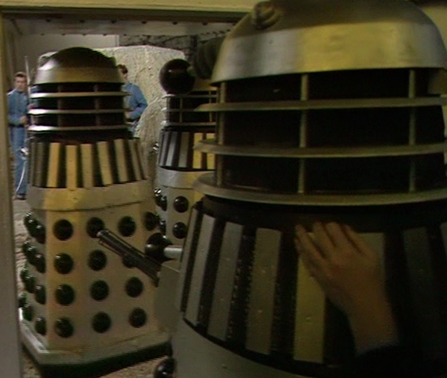 "A ""Goon"" prop is pushed into place in Death to the Daleks."