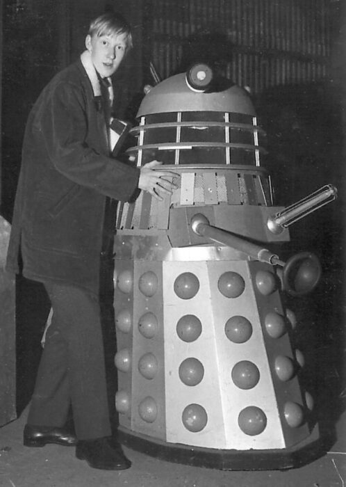 Al Stokes meets Dalek Seven-5 in storage at Ealing in 1968. Picture - Al Stokes.