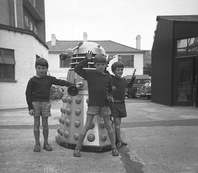 James Russell with his brothers and Dalek Five at Ealing. Picture - James Russell.