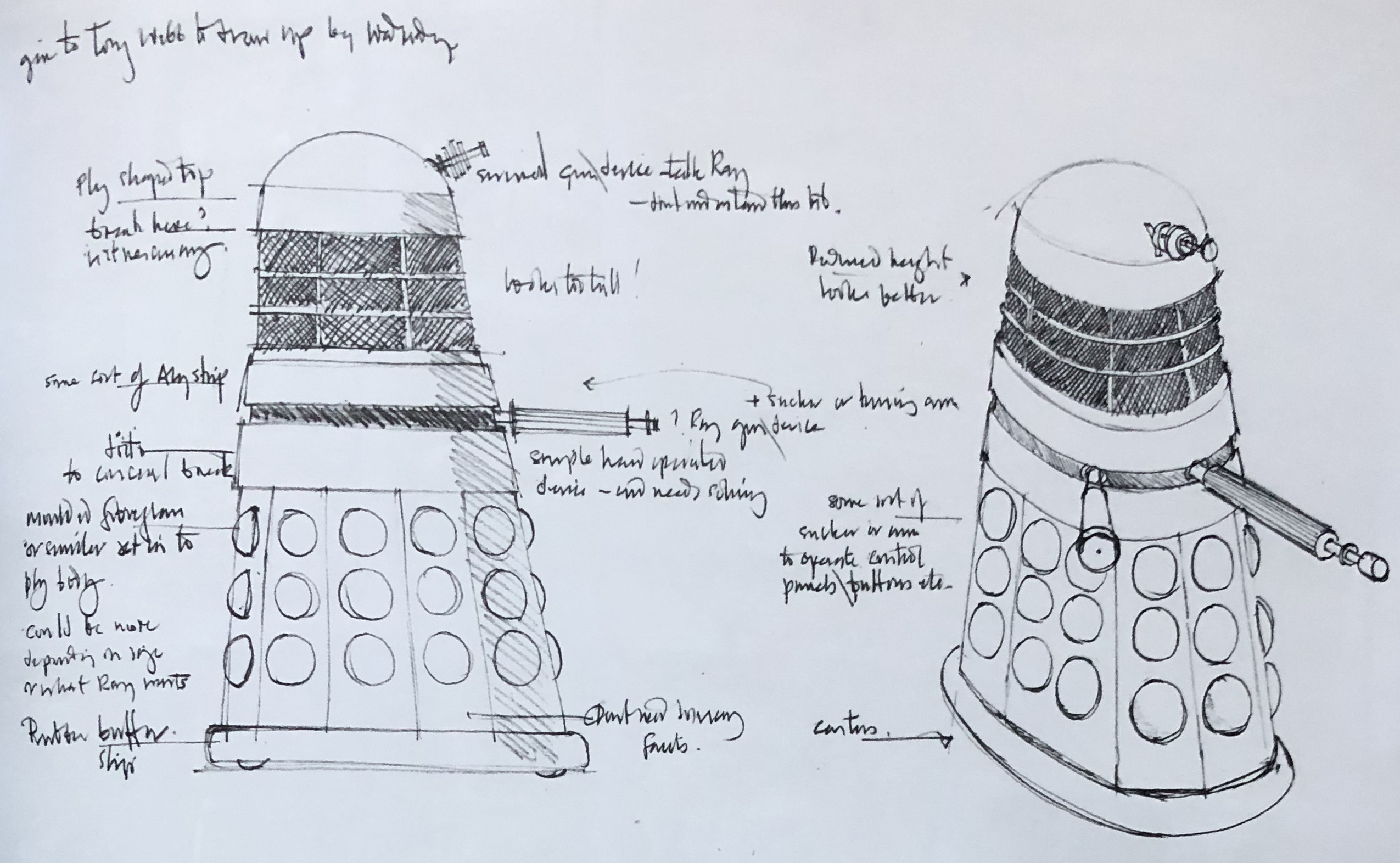 One of Davies' final sketches is close to the final form