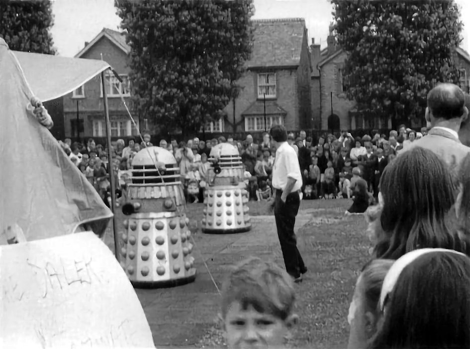 Dalek Five (right) and Dalek Six at St Nicholas School in Redhill. Picture - Audrey Humphrey.