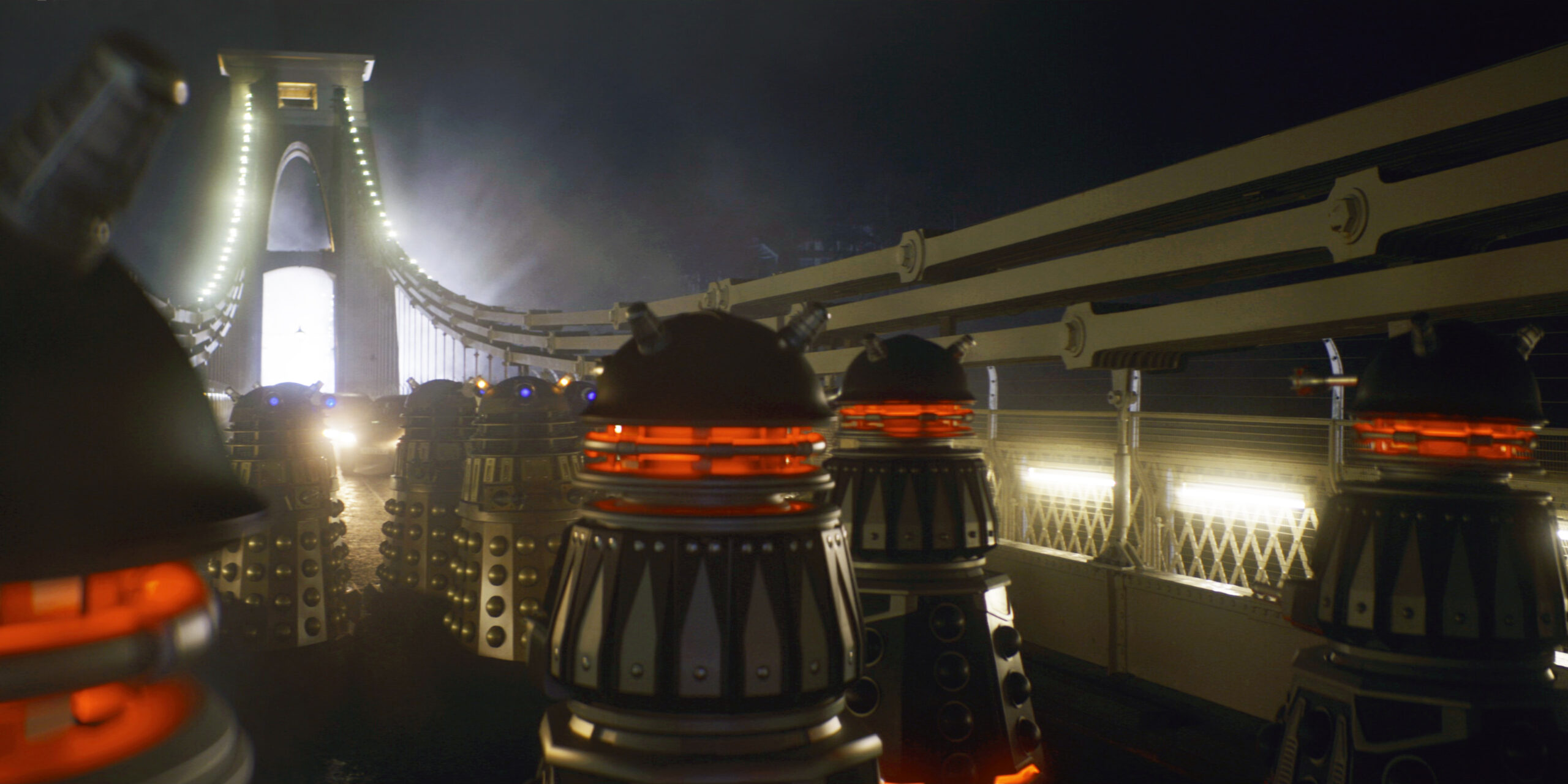 CGI Daleks boosted the numbers of Security Drones on the bridge. The two on the far right are the real props!